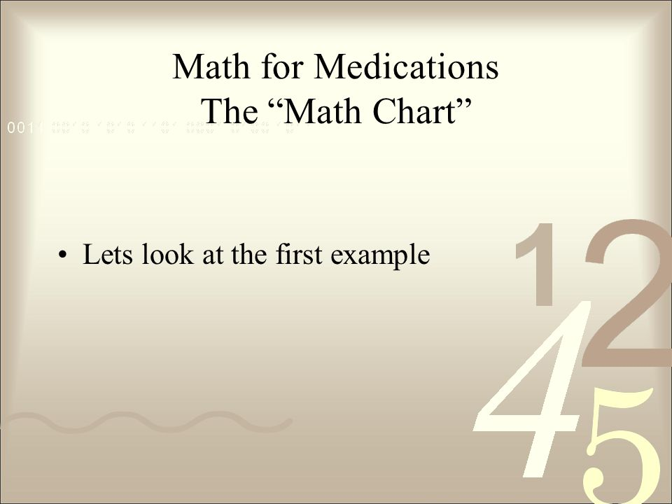 Math for Medications The Math Chart Lets look at the first example