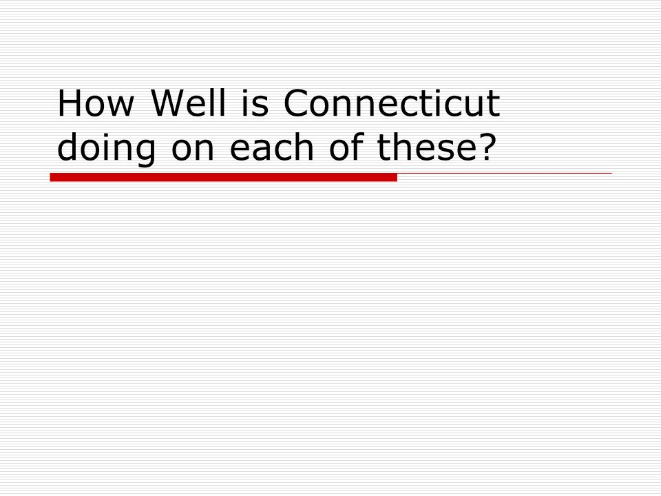 How Well is Connecticut doing on each of these?