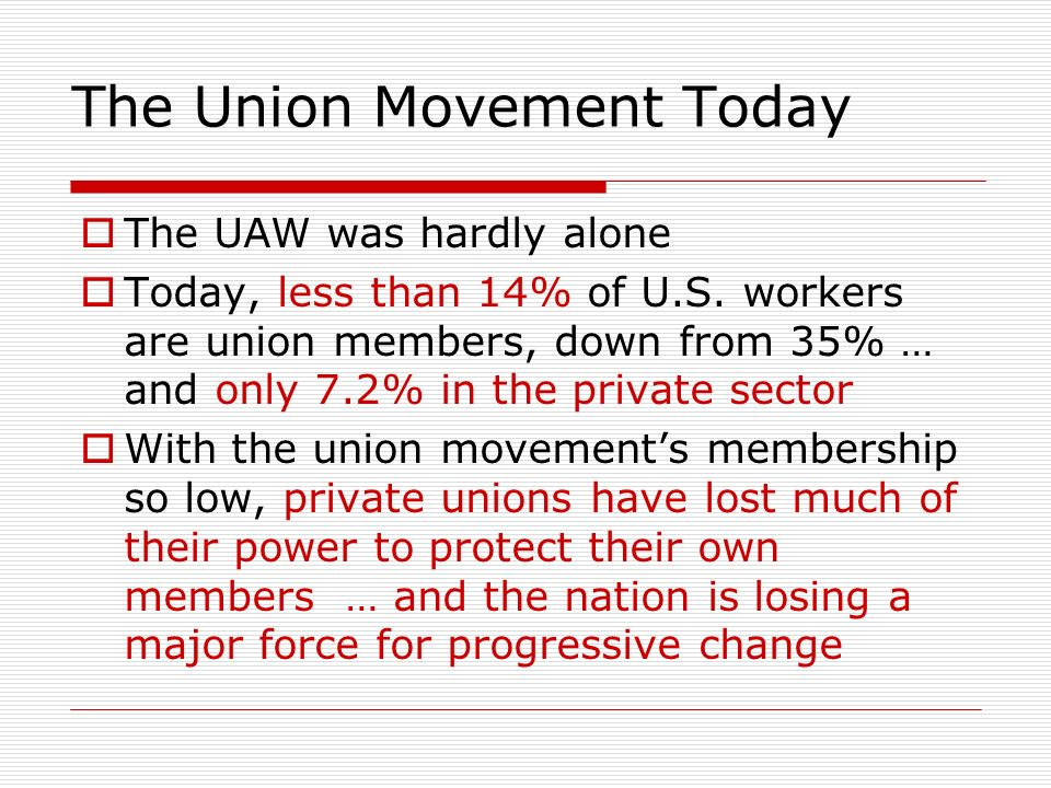 The Union Movement Today The UAW was hardly alone Today, less than 14% of U.S.