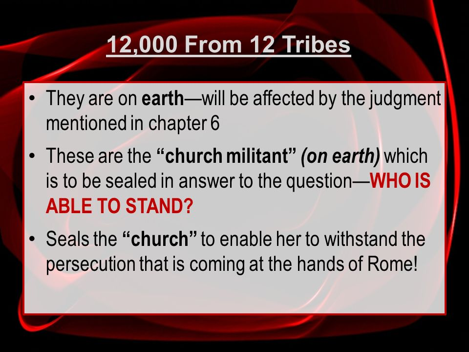 12,000 From 12 Tribes They are on earth will be affected by the judgment mentioned in chapter 6 These are the church militant (on earth) which is to b