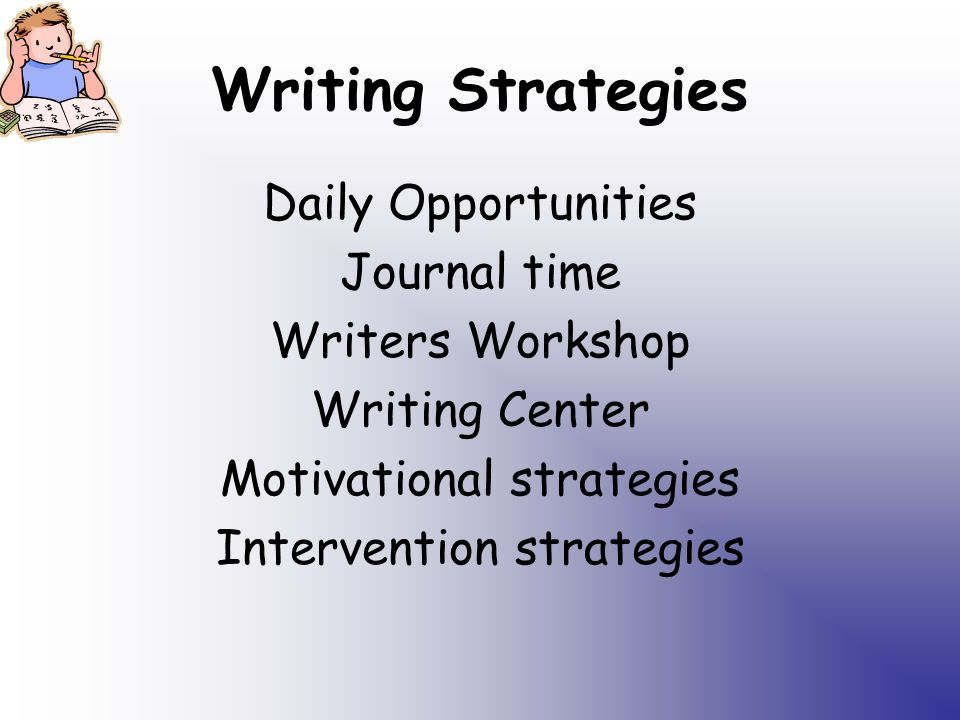 Writing Strategies Daily Opportunities Journal time Writers Workshop Writing Center Motivational strategies Intervention strategies
