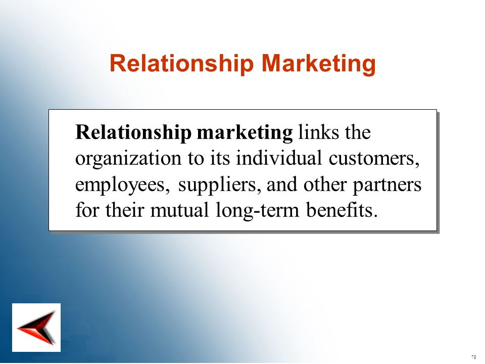 78 Relationship marketing links the organization to its individual customers, employees, suppliers, and other partners for their mutual long-term bene