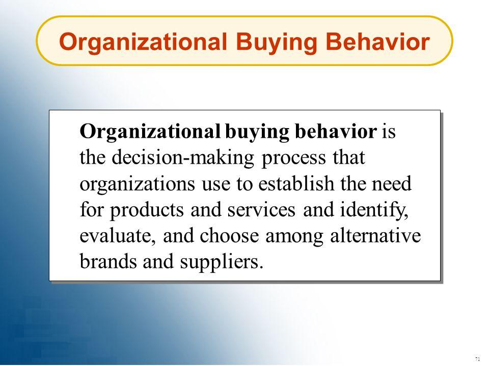 71 Organizational Buying Behavior Organizational buying behavior is the decision-making process that organizations use to establish the need for produ