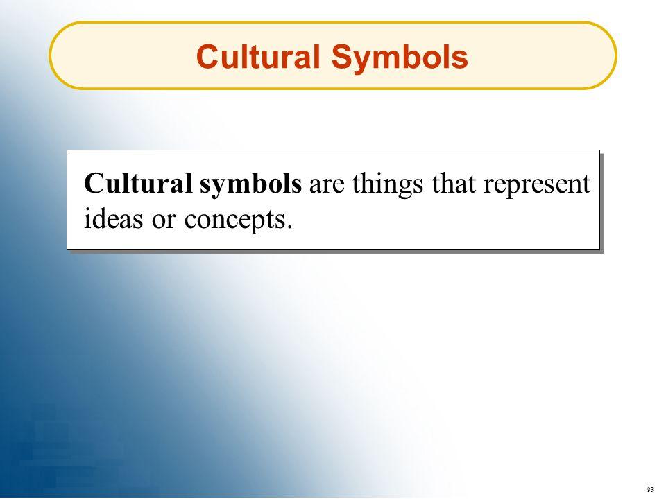93 Cultural symbols are things that represent ideas or concepts. Cultural Symbols