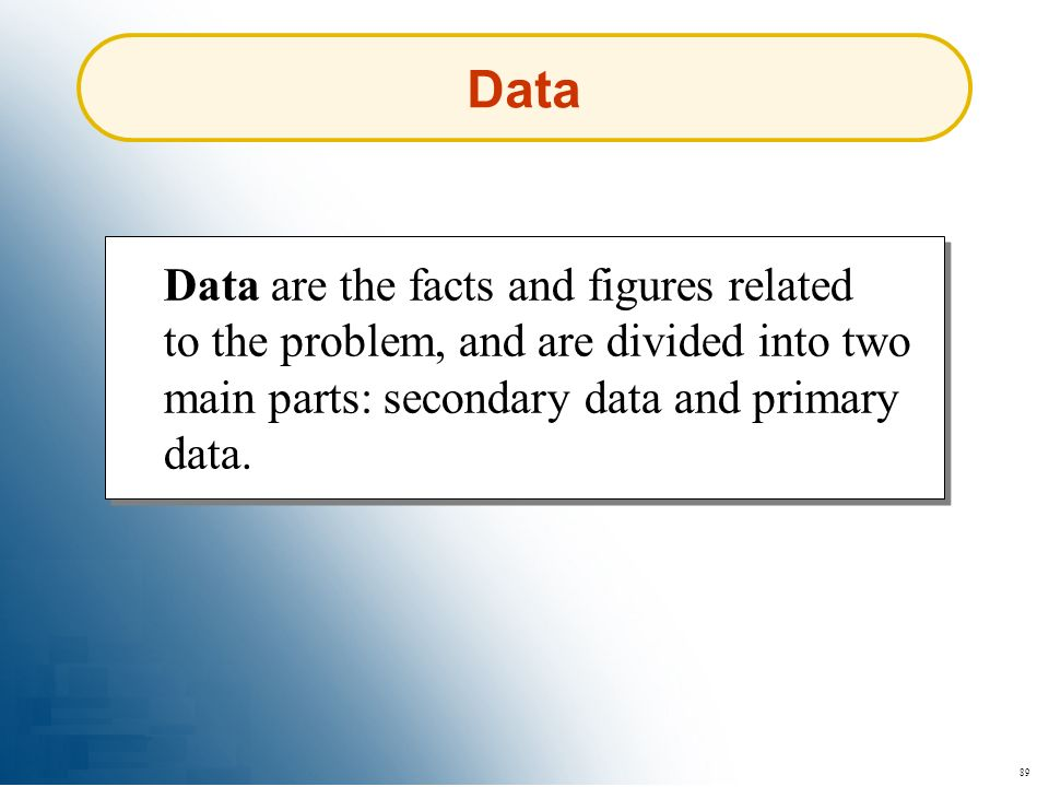 89 Data Data are the facts and figures related to the problem, and are divided into two main parts: secondary data and primary data.