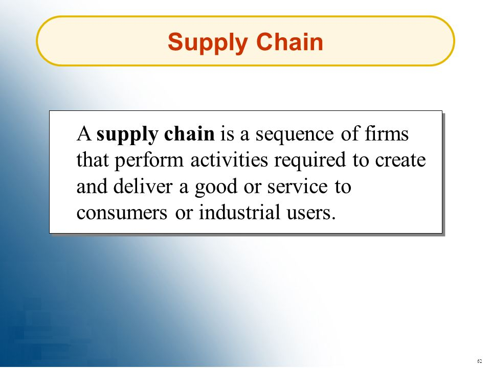 62 Supply Chain A supply chain is a sequence of firms that perform activities required to create and deliver a good or service to consumers or industr