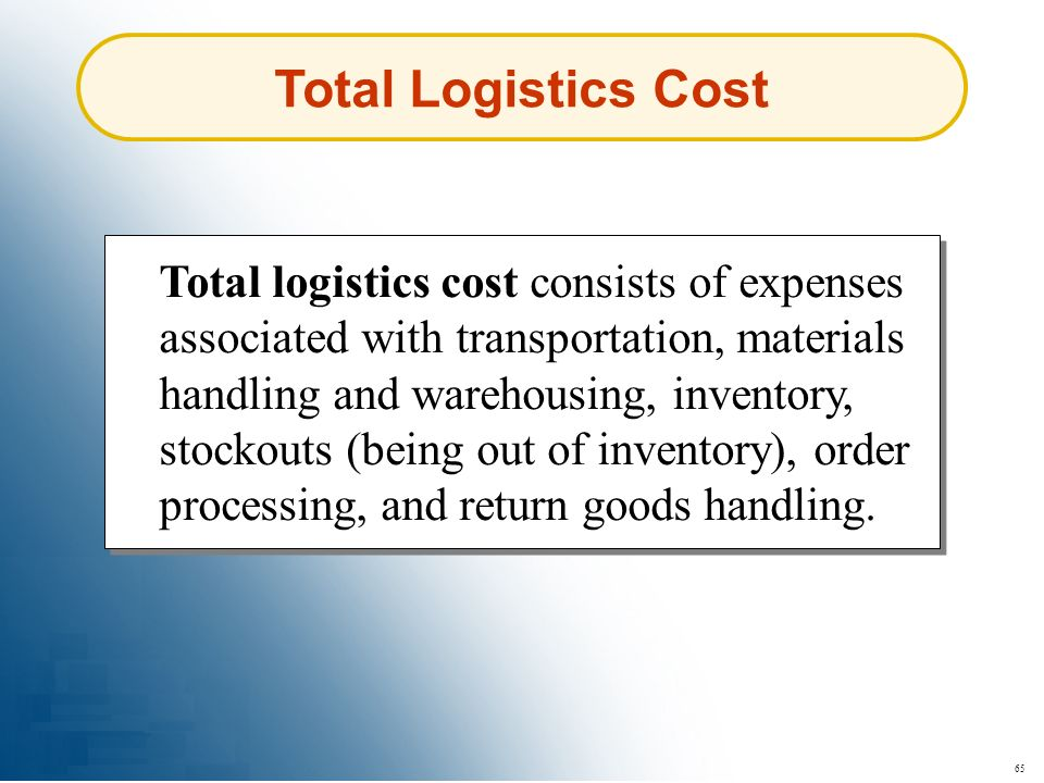65 Total Logistics Cost Total logistics cost consists of expenses associated with transportation, materials handling and warehousing, inventory, stock