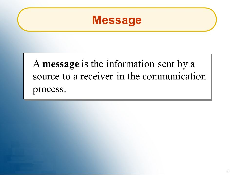 83 Message A message is the information sent by a source to a receiver in the communication process.