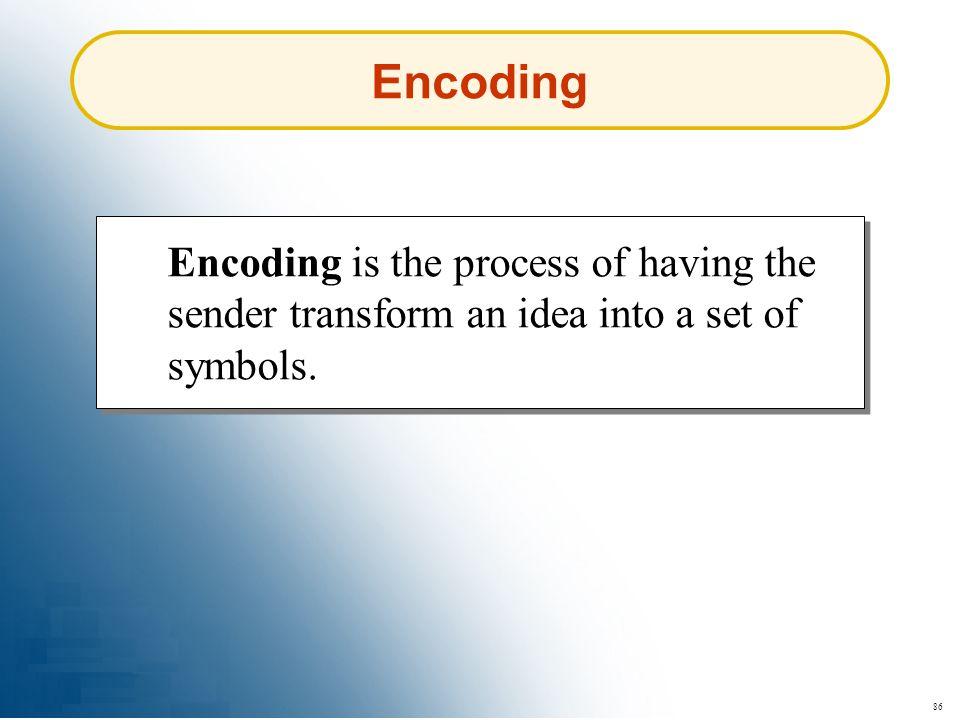 86 Encoding Encoding is the process of having the sender transform an idea into a set of symbols.