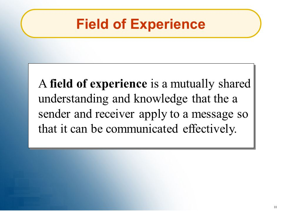 88 Field of Experience A field of experience is a mutually shared understanding and knowledge that the a sender and receiver apply to a message so tha