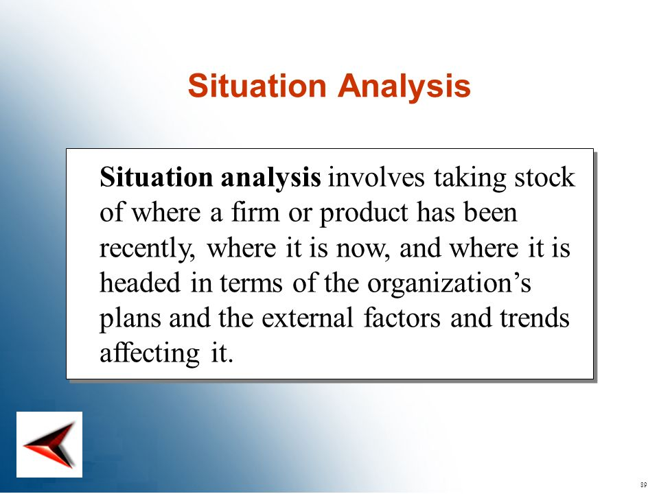 89 Situation analysis involves taking stock of where a firm or product has been recently, where it is now, and where it is headed in terms of the orga