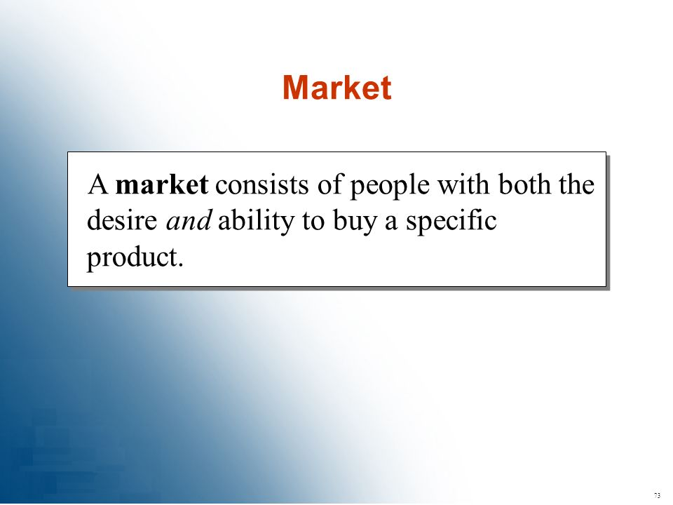 73 A market consists of people with both the desire and ability to buy a specific product. Market