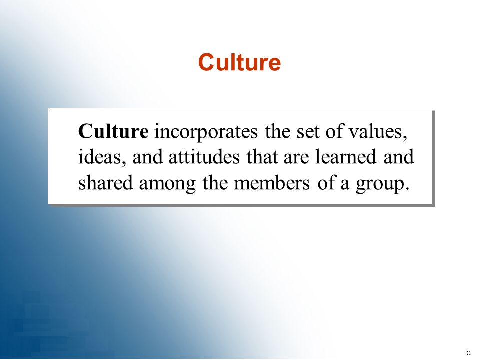 81 Culture incorporates the set of values, ideas, and attitudes that are learned and shared among the members of a group. Culture