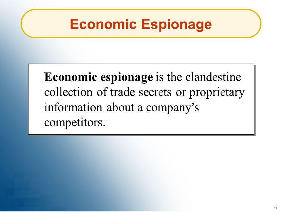50 Economic Espionage Economic espionage is the clandestine collection of trade secrets or proprietary information about a companys competitors.