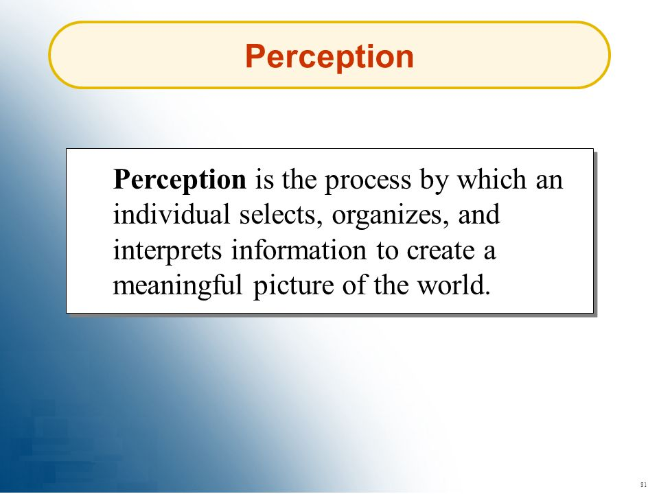 81 Perception Perception is the process by which an individual selects, organizes, and interprets information to create a meaningful picture of the wo