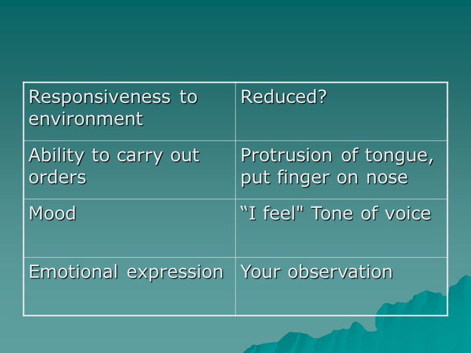 Responsiveness to environment Reduced? Ability to carry out orders Protrusion of tongue, put finger on nose Mood I feel