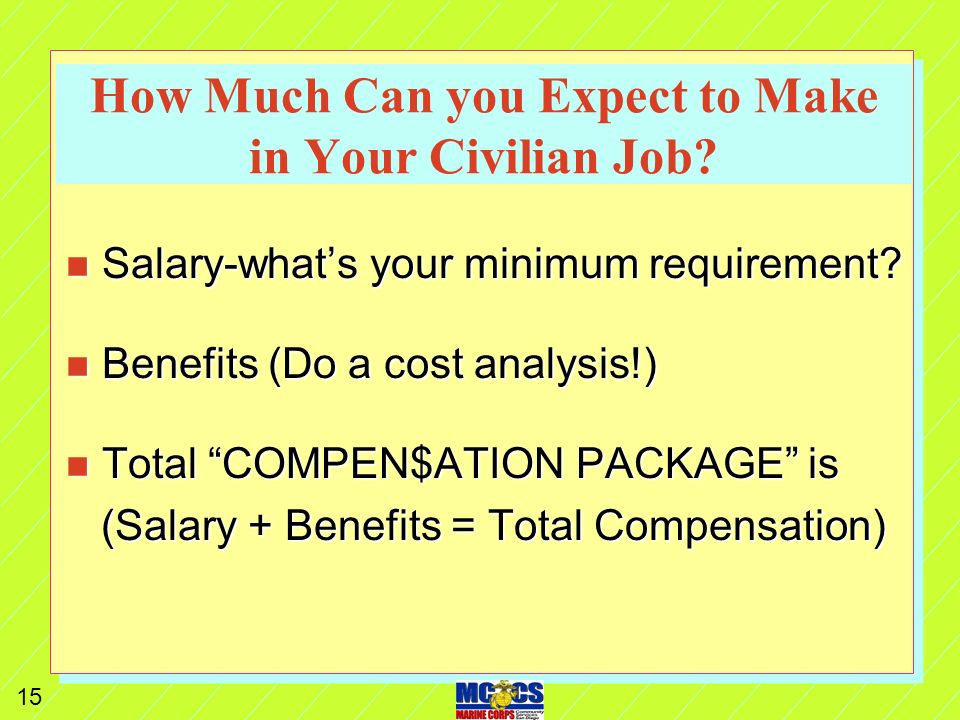 14 Pay Comparison Single Capt over 8 n Marine Corps Pay n Base Pay 5197.20 n BAH 2085.00 n BAS 223.04 n Taxes--1201.58 n FICA --397.59 n Net Pay 5906.07 n Civilian Pay ($43/hr) n Base Pay 7505.24 n Taxes --2007.64 n FICA --574.15 n SDI --60.04 n Medical --206.00 n Net Pay 4657.41 n Diff (1248.66)
