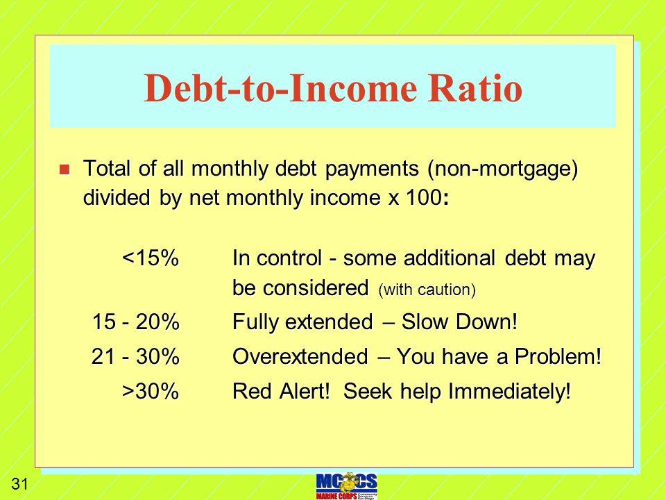 30 Reduce / Eliminate Debt n Make debt reduction 1 st priority.