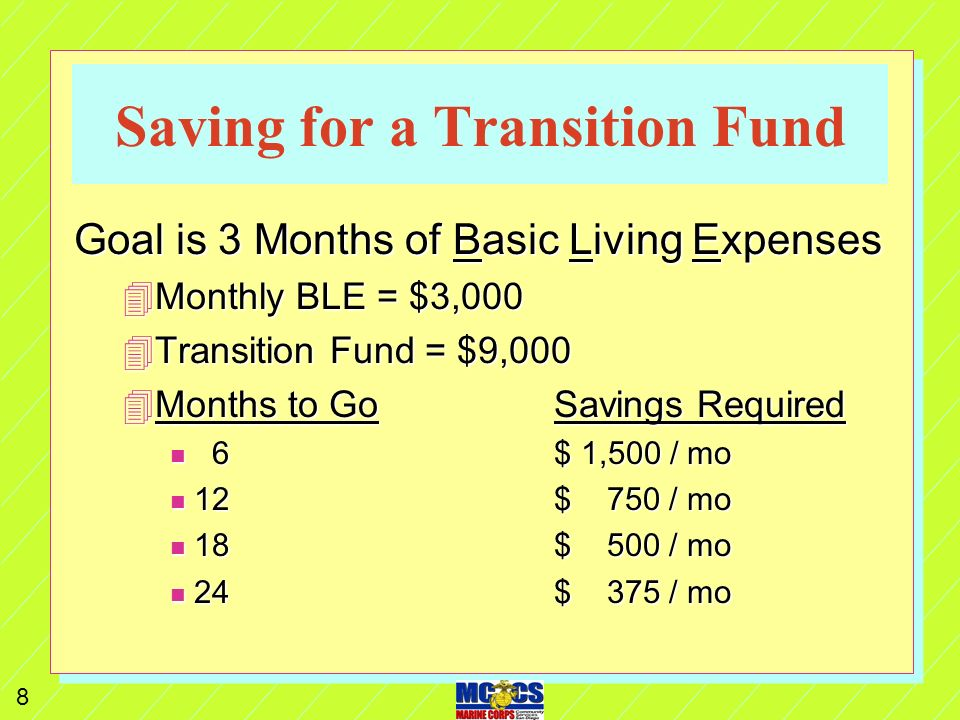7 Saving for a Transition Fund n Goal is to cover 3 months of Basic Living Expenses (see page 34 of TAP Book) without tapping your Savings, Investments, or Credit Cards: 4Mortgage / Utilities$ 1,800 4Car payment$ 350 4Food$ 400 4Gas$ 250 4Insurance$ 200 TOTAL$ 3,000