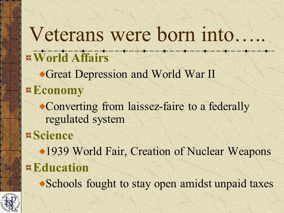 Veterans were born into…..