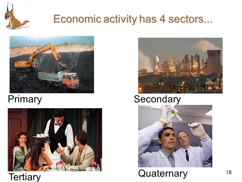 18 Economic activity has 4 sectors... PrimarySecondary Tertiary Quaternary