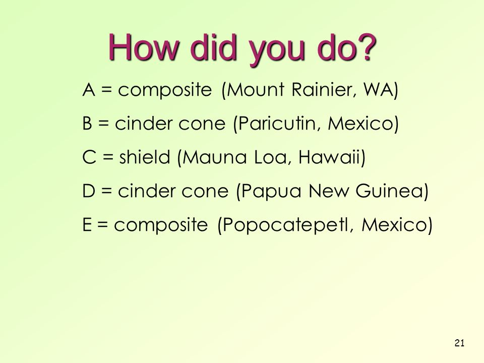 21 How did you do? A = composite (Mount Rainier, WA) B = cinder cone (Paricutin, Mexico) C = shield (Mauna Loa, Hawaii) D = cinder cone (Papua New Gui