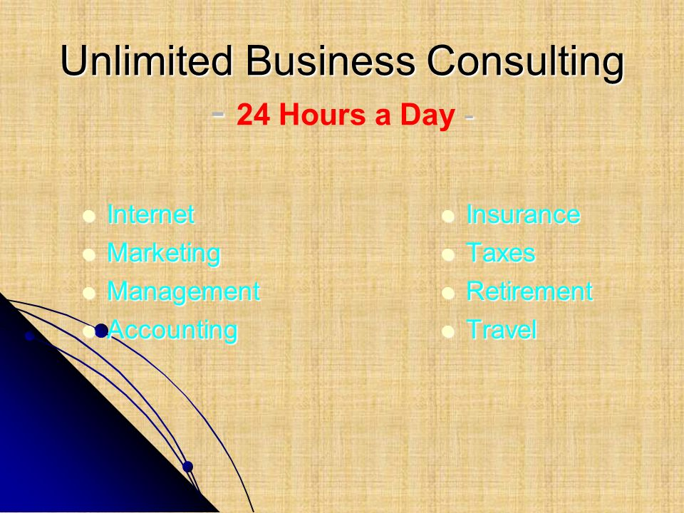 Unlimited Business Consulting - - Unlimited Business Consulting - 24 Hours a Day - Internet Internet Marketing Marketing Management Management Account