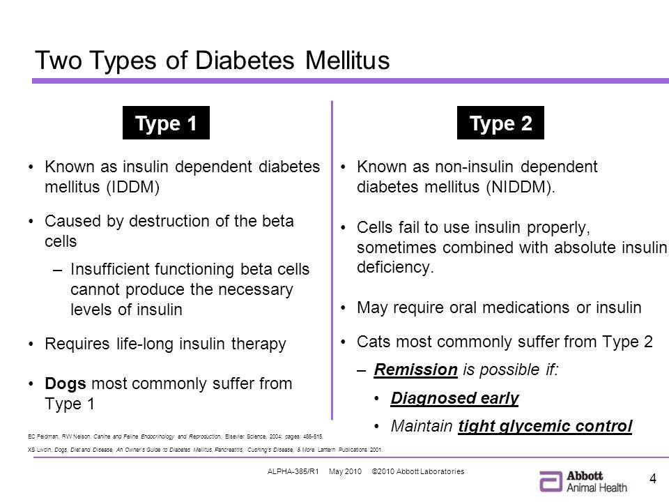 ALPHA-385/R1 May 2010 ©2010 Abbott Laboratories 4 Two Types of Diabetes Mellitus EC Feldman, RW Nelson.