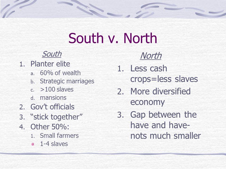 South v. North South 1. Planter elite a. 60% of wealth b. Strategic marriages c. >100 slaves d. mansions 2. Govt officials 3. stick together 4. Other