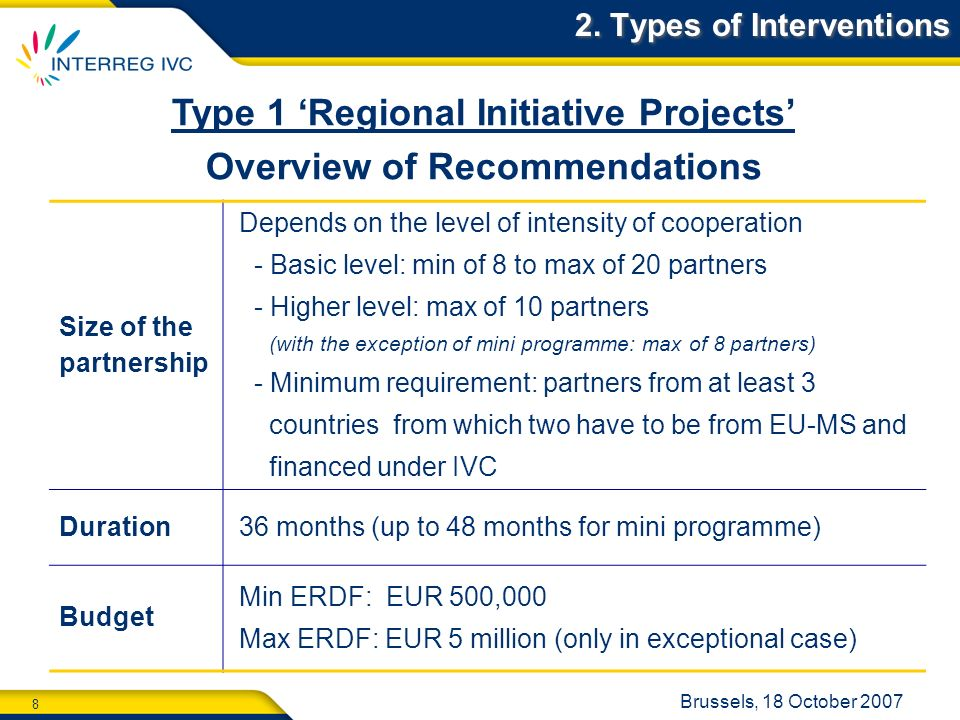 8 Brussels, 18 October 2007 2. Types of Interventions Type 1 Regional Initiative Projects Overview of Recommendations Size of the partnership Depends
