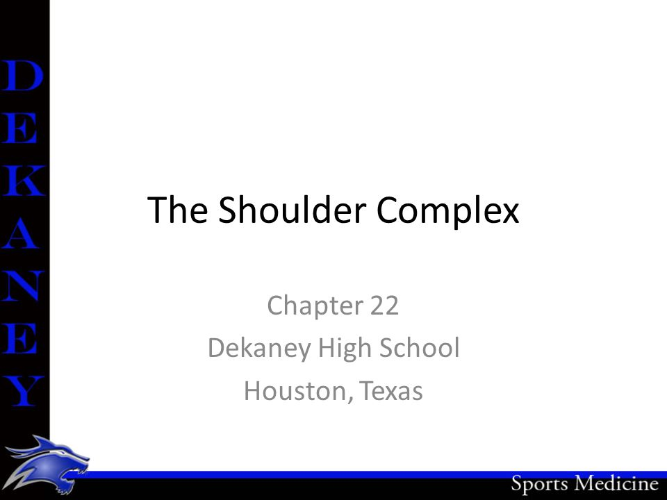 The Shoulder Complex Chapter 22 Dekaney High School Houston, Texas