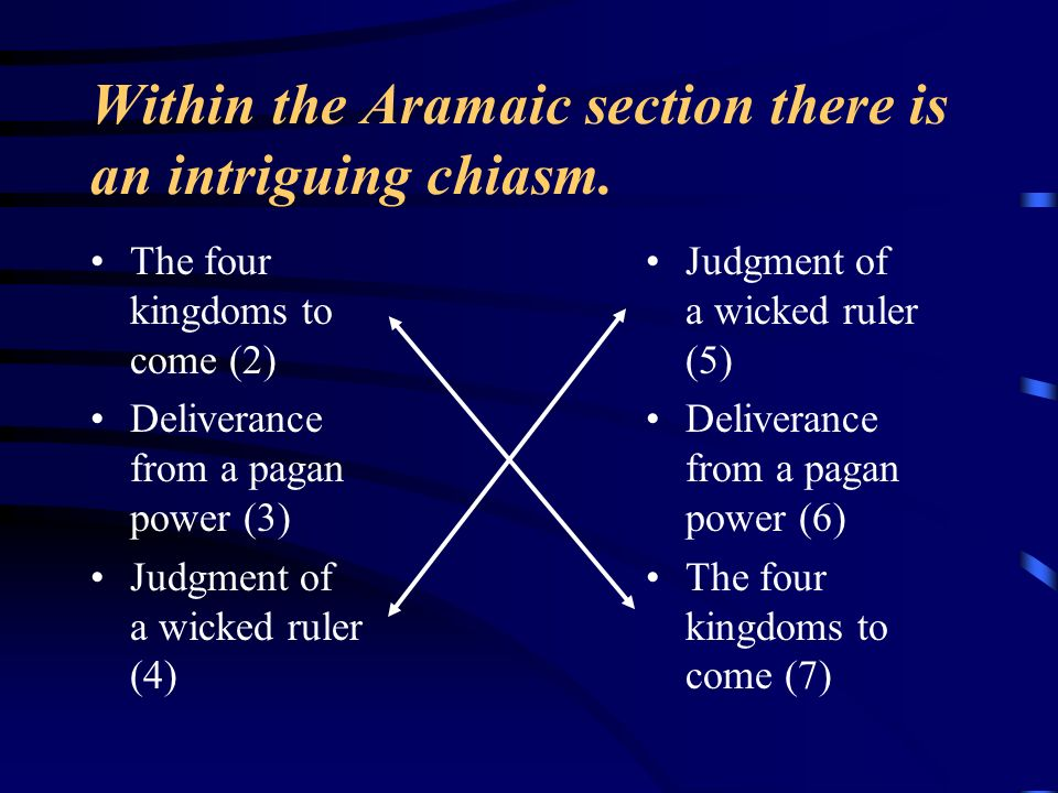 Within the Aramaic section there is an intriguing chiasm. The four kingdoms to come (2) Deliverance from a pagan power (3) Judgment of a wicked ruler