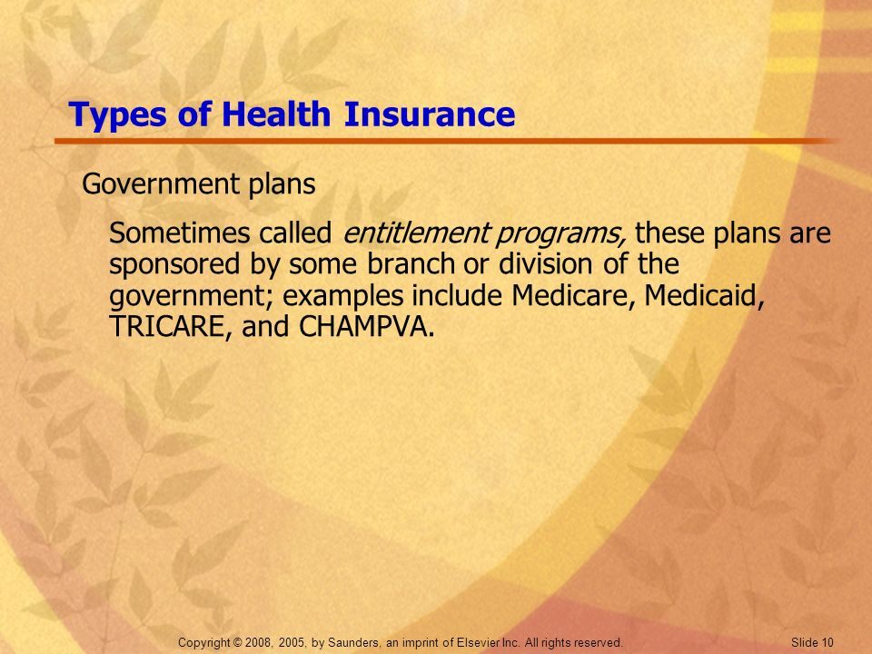 Copyright © 2008, 2005, by Saunders, an imprint of Elsevier Inc. All rights reserved. Slide 10 Types of Health Insurance Government plans Sometimes ca