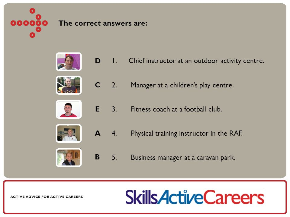 ACTIVE ADVICE FOR ACTIVE CAREERS The correct answers are: 1.Chief instructor at an outdoor activity centre.