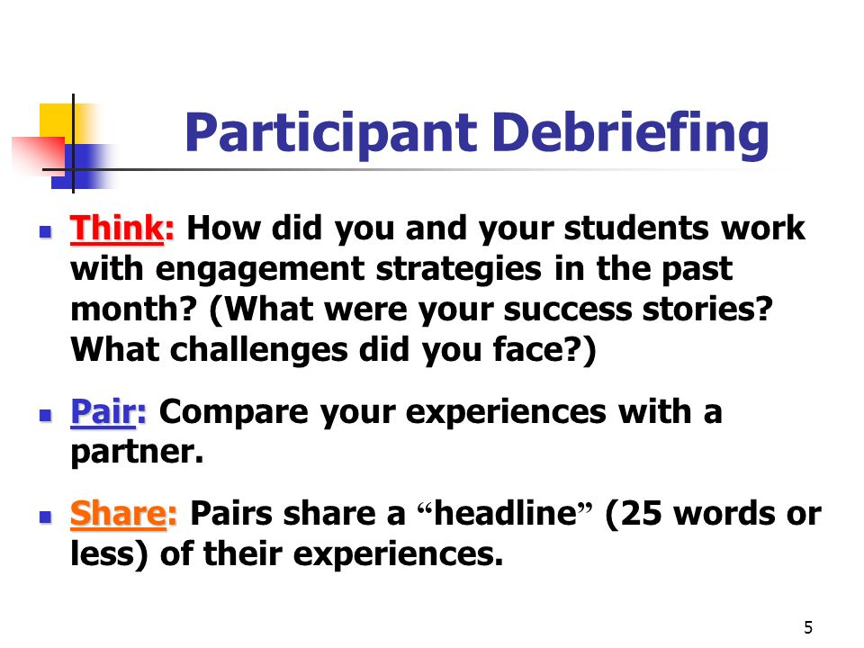 5 Participant Debriefing Think: Think: How did you and your students work with engagement strategies in the past month.