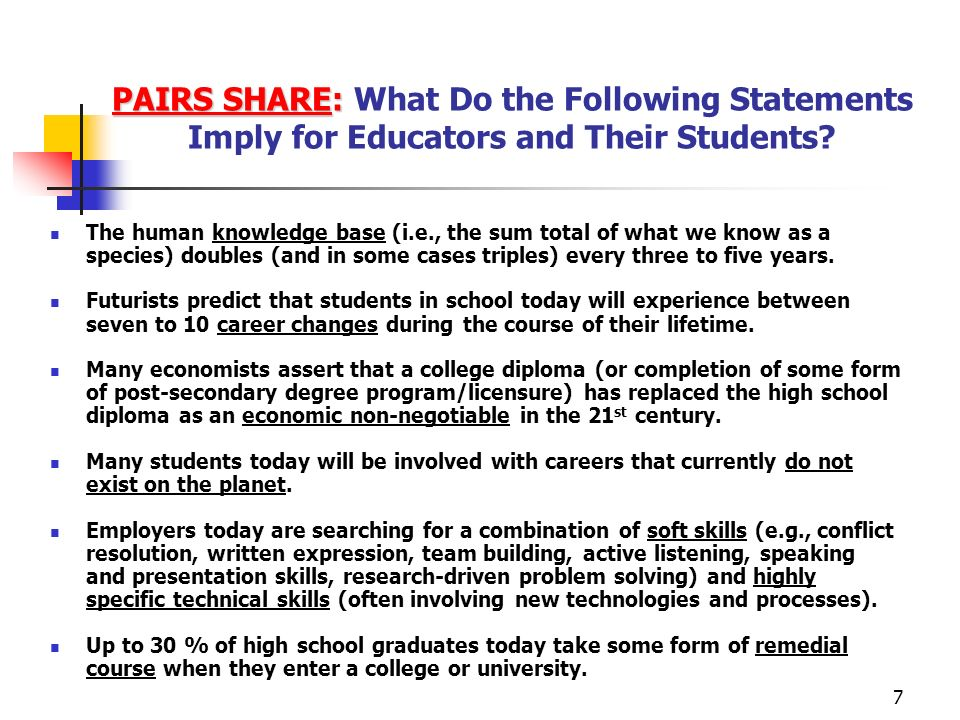 7 PAIRS SHARE: PAIRS SHARE: What Do the Following Statements Imply for Educators and Their Students.