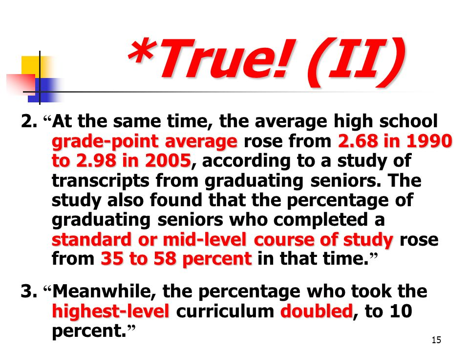 15 *True! (II) grade-point average2.68 in 1990 to 2.98 in 2005 standard or mid-level course of study 35 to 58 percent 2. At the same time, the average