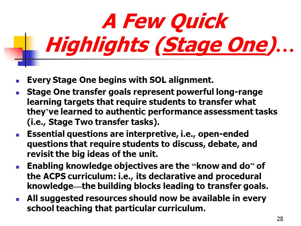 28 A Few Quick Highlights (Stage One) … Every Stage One begins with SOL alignment. Stage One transfer goals represent powerful long-range learning tar