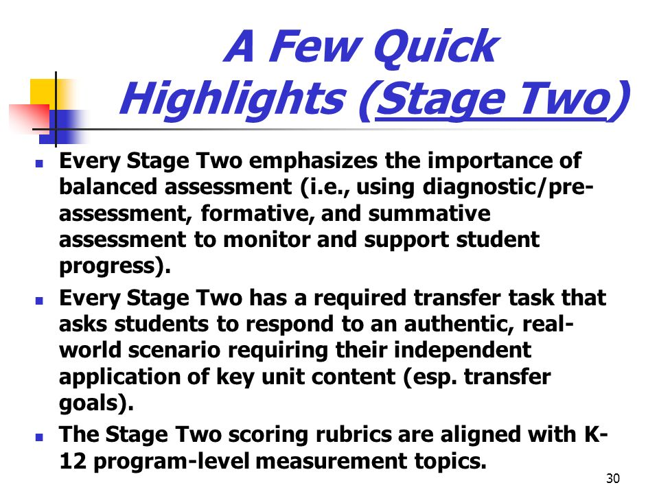 30 A Few Quick Highlights (Stage Two) Every Stage Two emphasizes the importance of balanced assessment (i.e., using diagnostic/pre- assessment, format