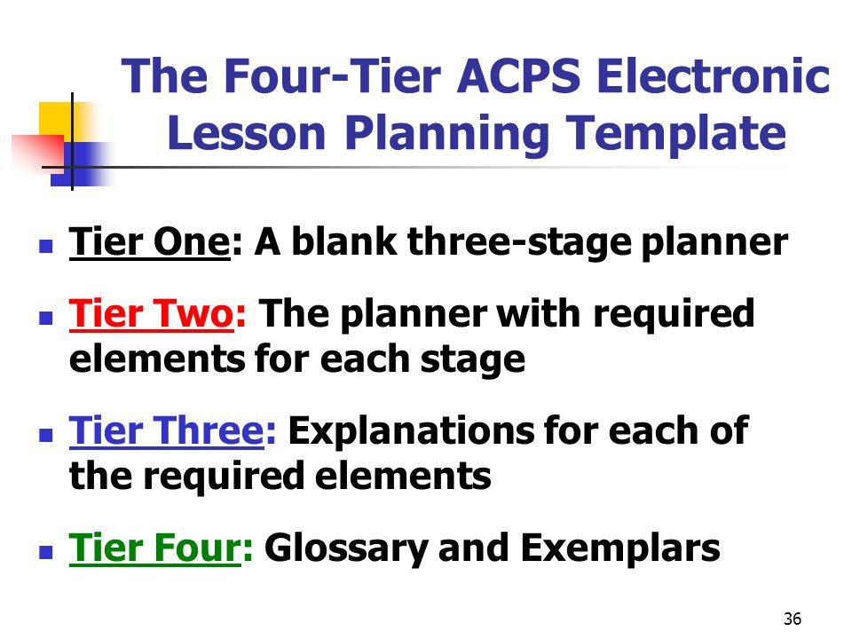 36 The Four-Tier ACPS Electronic Lesson Planning Template Tier One: A blank three-stage planner Tier Two: The planner with required elements for each