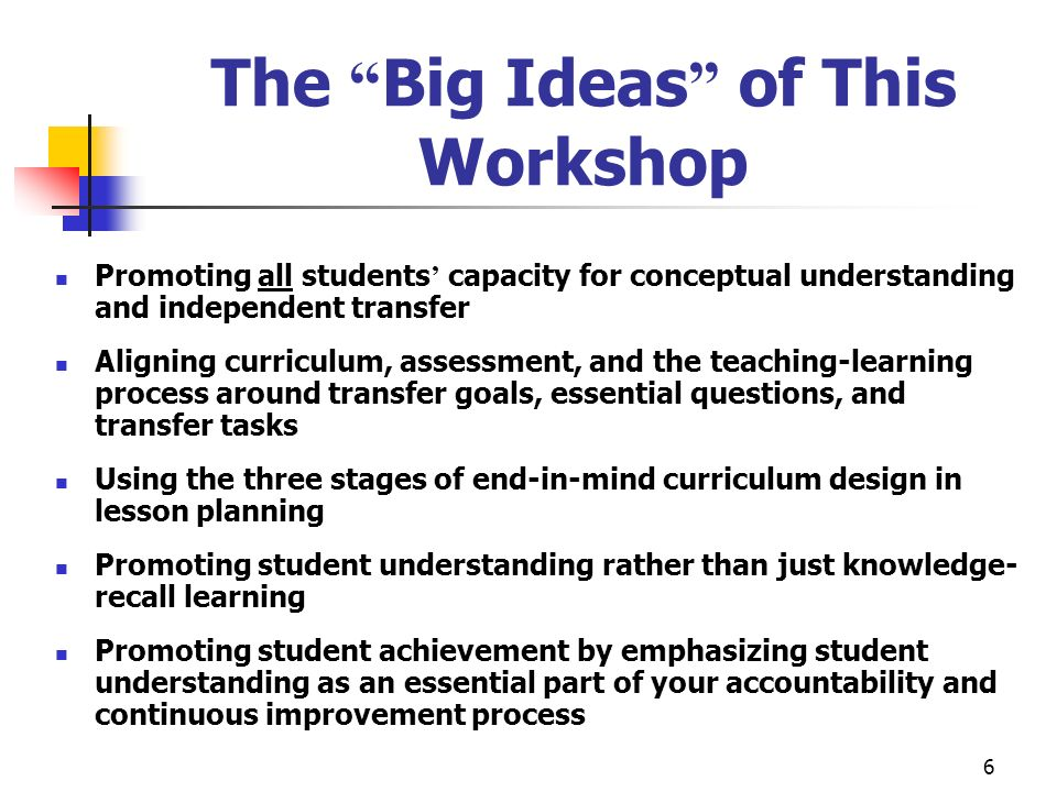 6 The Big Ideas of This Workshop Promoting all students capacity for conceptual understanding and independent transfer Aligning curriculum, assessment