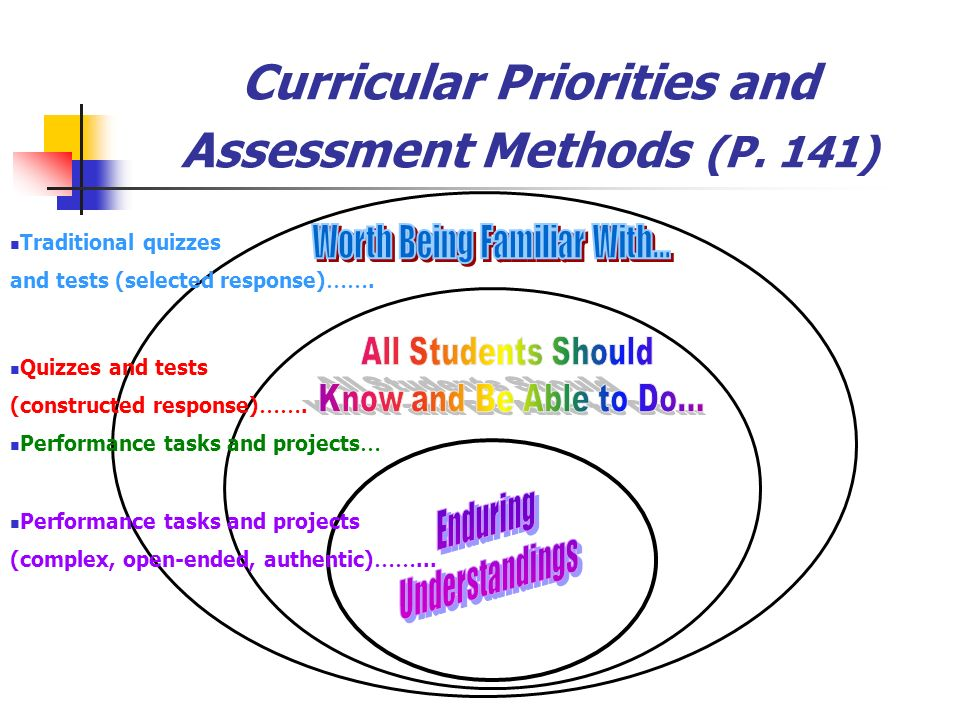 Curricular Priorities and Assessment Methods (P. 141) Traditional quizzes and tests (selected response) ……. Quizzes and tests (constructed response) …