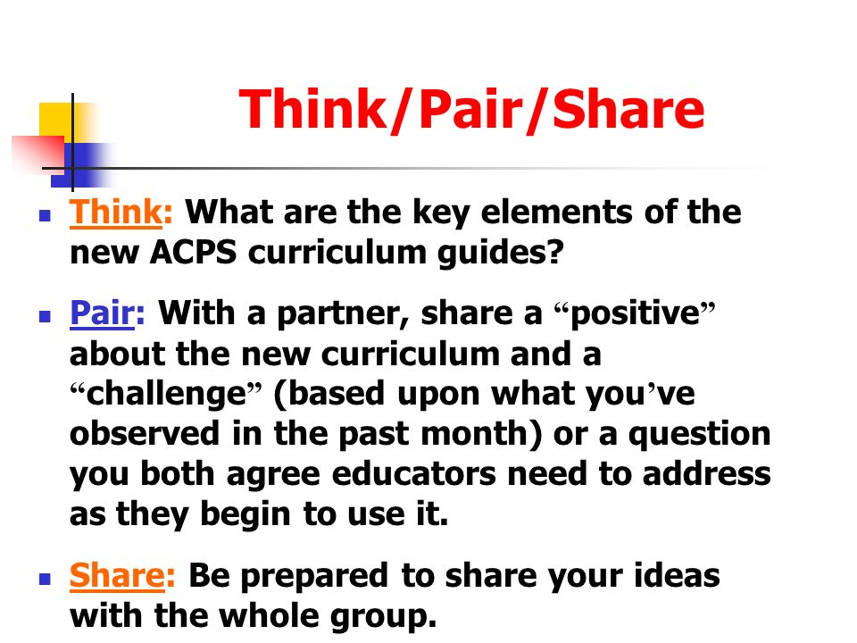 Think/Pair/Share Think: What are the key elements of the new ACPS curriculum guides? Pair: With a partner, share a positive about the new curriculum a