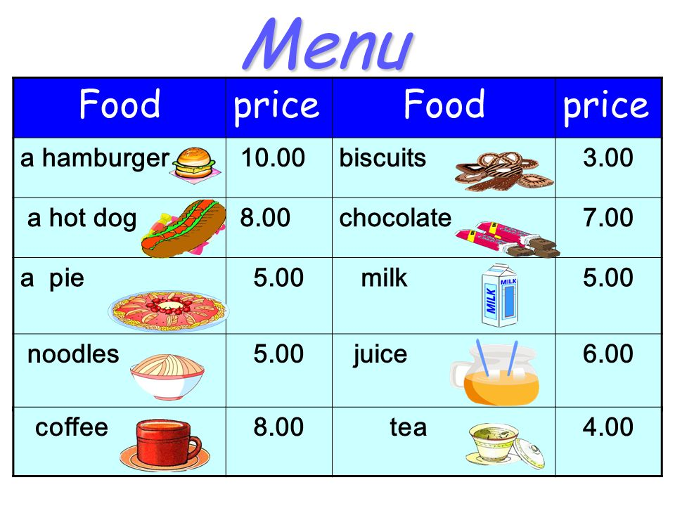 Menu FoodpriceFoodprice a hamburger 10.00biscuits3.00 a hot dog 8.00chocolate7.00 a pie5.00 milk5.00 noodles5.00 juice6.00 coffee8.00 tea4.00