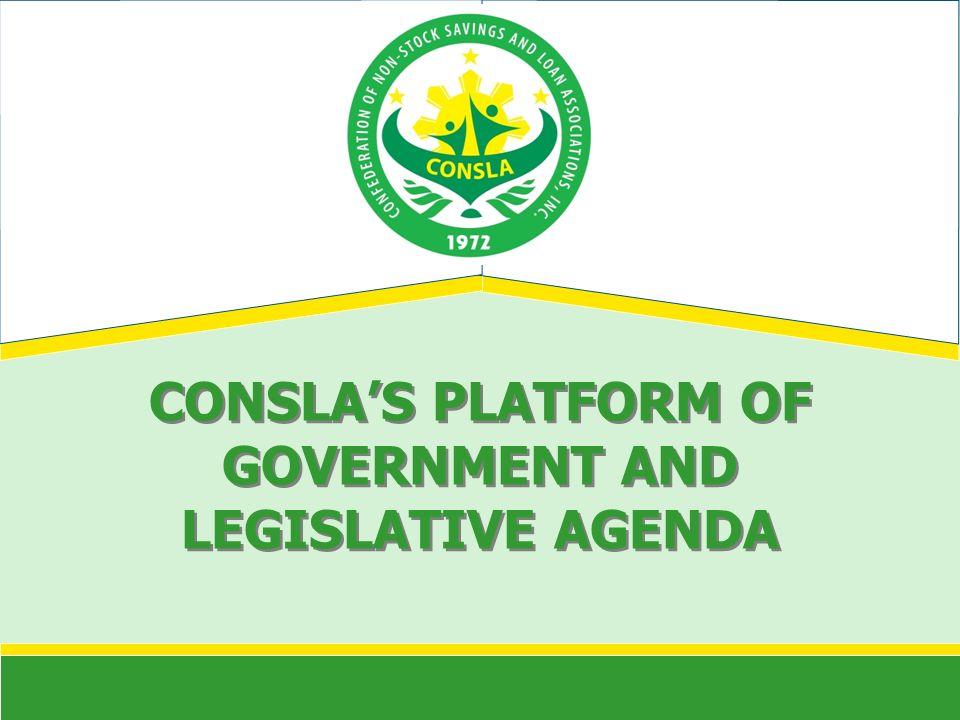 CONSLAS PLATFORM OF GOVERNMENT AND LEGISLATIVE AGENDA