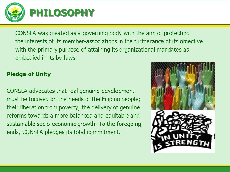 PHILOSOPHY CONSLA was created as a governing body with the aim of protecting the interests of its member-associations in the furtherance of its object