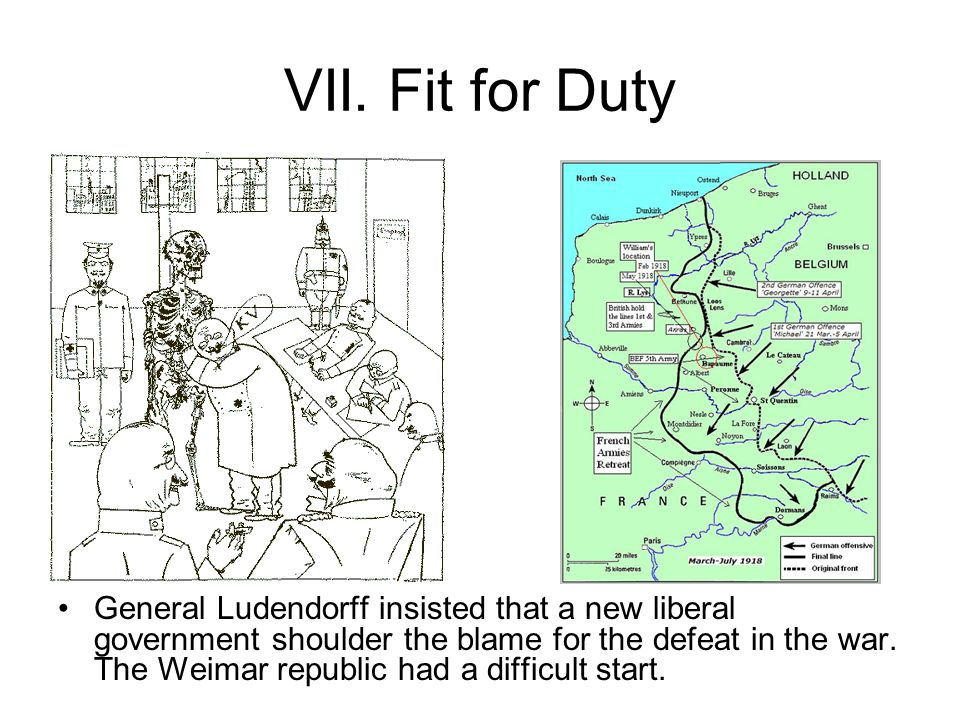 VII. Fit for Duty General Ludendorff insisted that a new liberal government shoulder the blame for the defeat in the war. The Weimar republic had a di