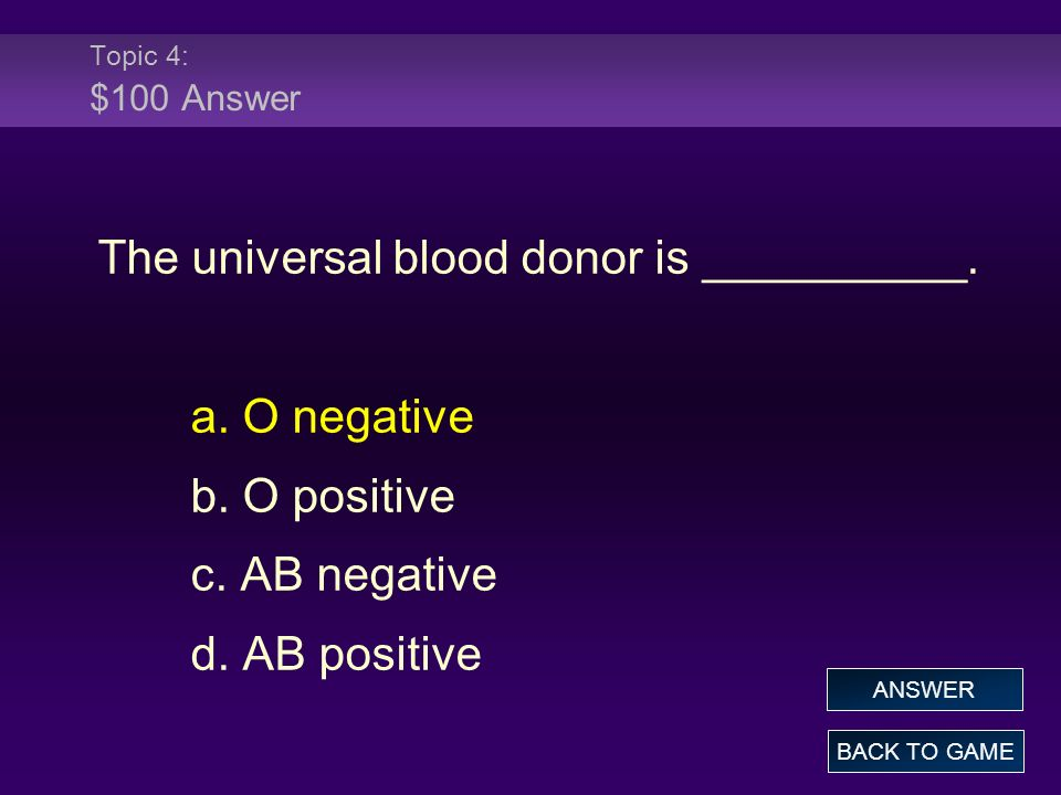 Topic 4: $100 Answer The universal blood donor is __________. a. O negative b. O positive c. AB negative d. AB positive BACK TO GAME ANSWER