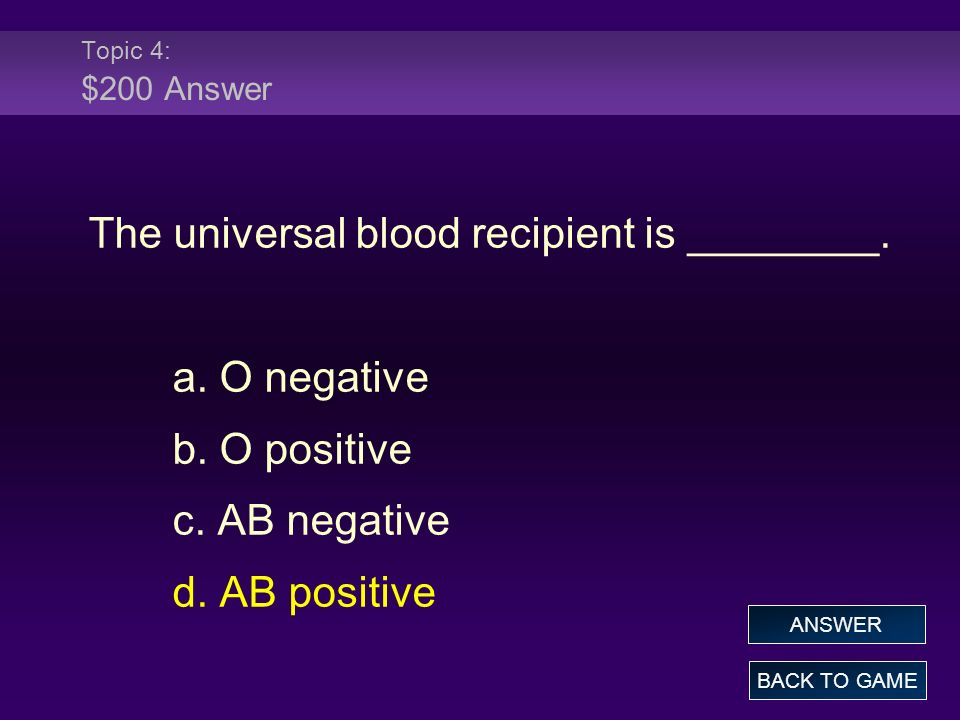 Topic 4: $300 Question Individuals with blood type O have what antibodies in their plasma.