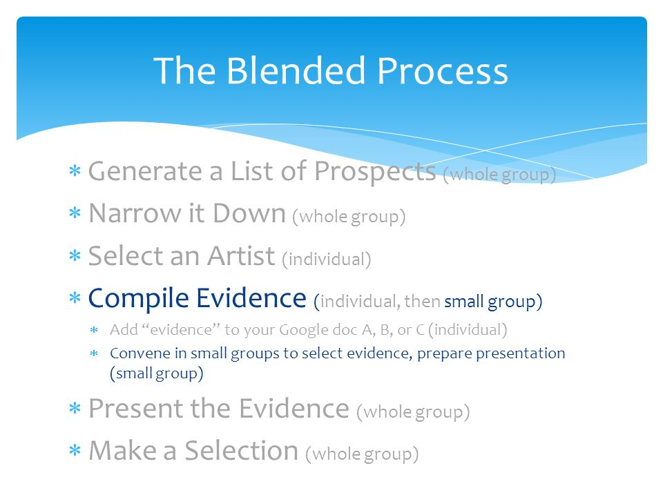 Generate a List of Prospects (whole group) Narrow it Down (whole group) Select an Artist (individual) Compile Evidence (individual, then small group) Add evidence to your Google doc A, B, or C (individual) Convene in small groups to select evidence, prepare presentation (small group) Present the Evidence (whole group) Make a Selection (whole group) The Blended Process